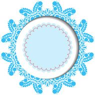 Snowflake christmas card with banner and lace on white N5