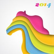 Colorful paper horse Christmas and New Year card Vector