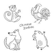 Set of the Chinese zodiac signs N7