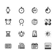 time element vecter black icon set on white background