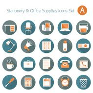 Office Supplies and Stationery Objects Flat Icons Set A