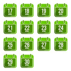 April vector flat calendar icons Days Of Year Set 14