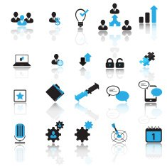 Office and business pictogram set