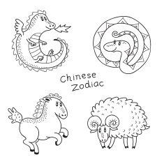 Set of the Chinese zodiac signs N4