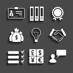 simple set of business icons