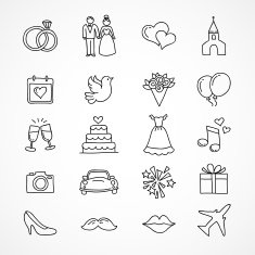 Vector hand drawn wedding icons N2
