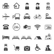 Hotel Accommodation Amenities Services Icons Set A N3