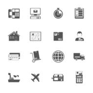 Black and white logistic service icon
