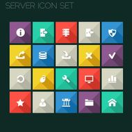 Flat style server icons with long shadows