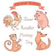 Chinese Zodiac - Rooster Boar Monkey Dog