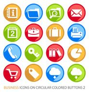 Business Icons on Circular Colored Buttons