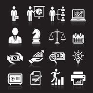 Business icons management and human resources white icons