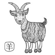 Chinese Zodiac Animal astrological sign goat N6