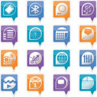 Mobile phone performance internet and office icons N2
