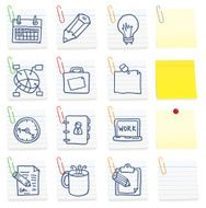 Office icons on post it notes