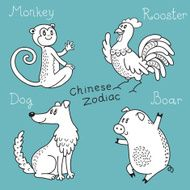 Set of the Chinese zodiac signs N8
