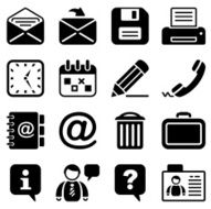 office & contacts icon set I black