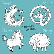 Set of the Chinese zodiac signs N9