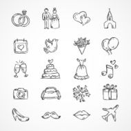 Vector wedding icons bride groom couple love marriage