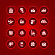 Set valentine's day icons romantic travel