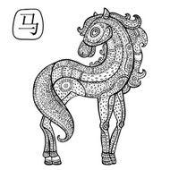 Chinese Zodiac Animal astrological sign horse N3