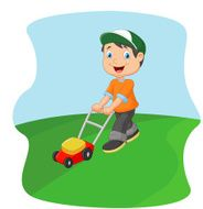 Young man cartoon cutting grass with a push lawn mower