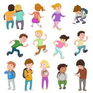Multi ethnic children running or playing and standing
