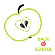 Green apple with heart center seed Back to school Flat