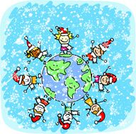 children celebrating christmas cartoon illustration