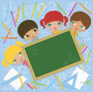 Cheerful School Kids with Blackboard