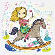 Girl on horse color illustration