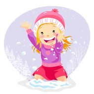 Little Girl Plays in the Winter Snow