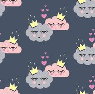 Seamless pattern with smiling sleeping clouds in love for holidays