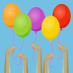 Up hands icon with balloons