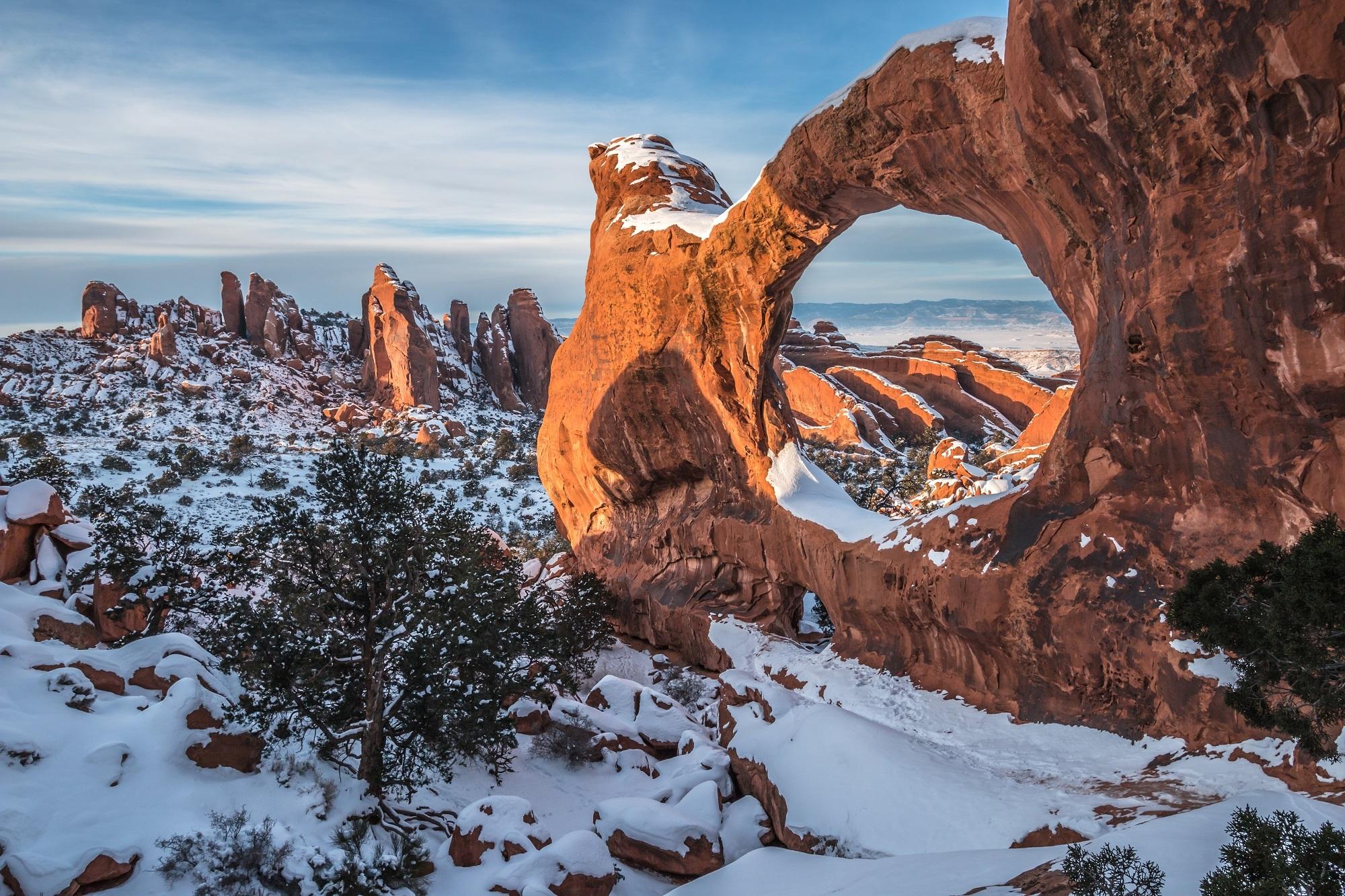 Double-O-Arch, арки, национальный, парк, США, штат, Юта  № 620084 бесплатно