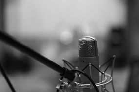 studio microphone in black and white