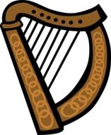 irish harp drawing