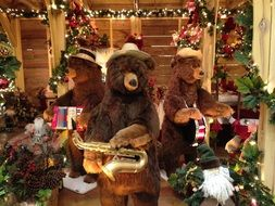 bears with musical instruments at Christmas