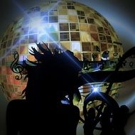 disco ball and woman dance