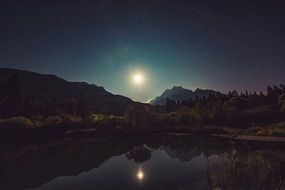 amazing moonshine lake reflection night