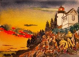 watercolor painting - image of a lighthouse on a hillside