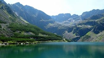 lake at the foot of the tatras in poland
