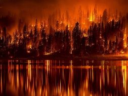 wildfire reflected in the water