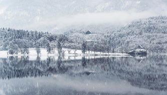 winter lake water reflection snow cold landscape