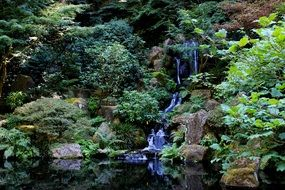 small waterfall in a picturesque landscape