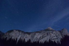 mountain range forest night sky