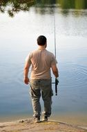 man with a fishing rod on the lake