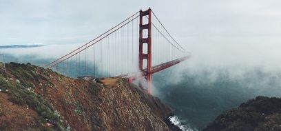 panorama of a suspension bridge in San Francisco