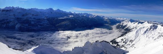 alps mountains winter panorama