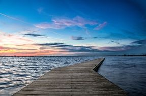 pier jetty sunset landscape wood